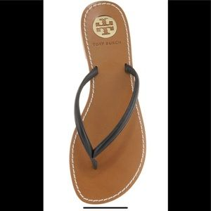 Tory Burch Abitha Thong Sandal in Black Leather